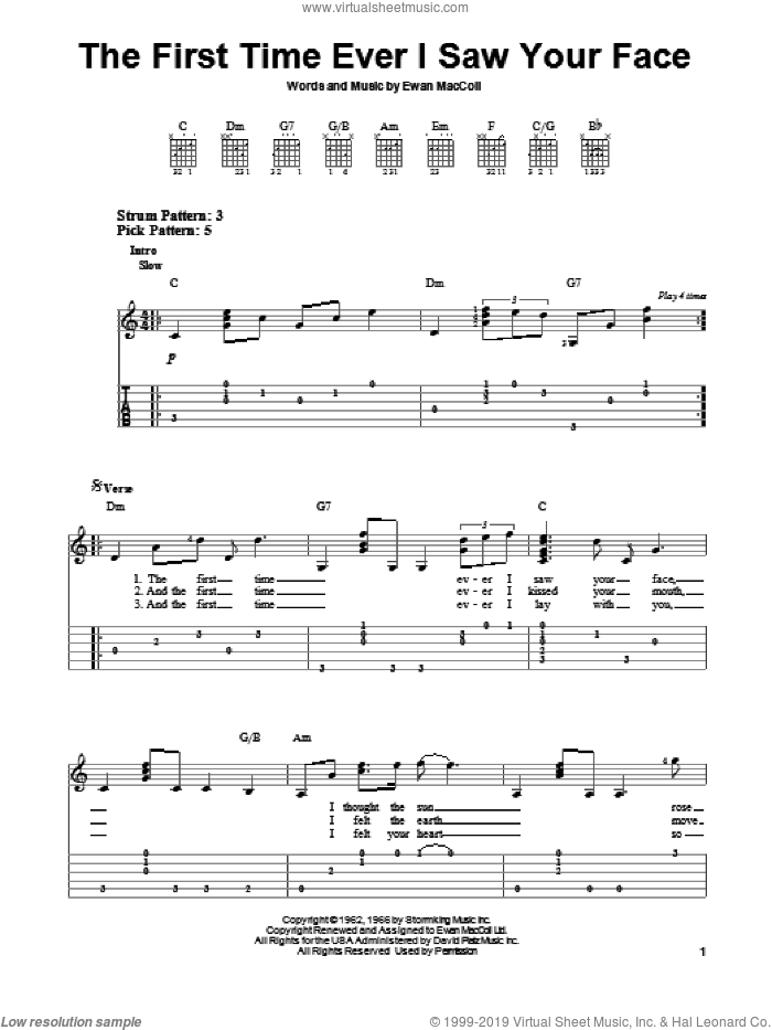 The First Time Ever I Saw Your Face sheet music for guitar solo (easy tablature) by Roberta Flack, wedding score, easy guitar (easy tablature)