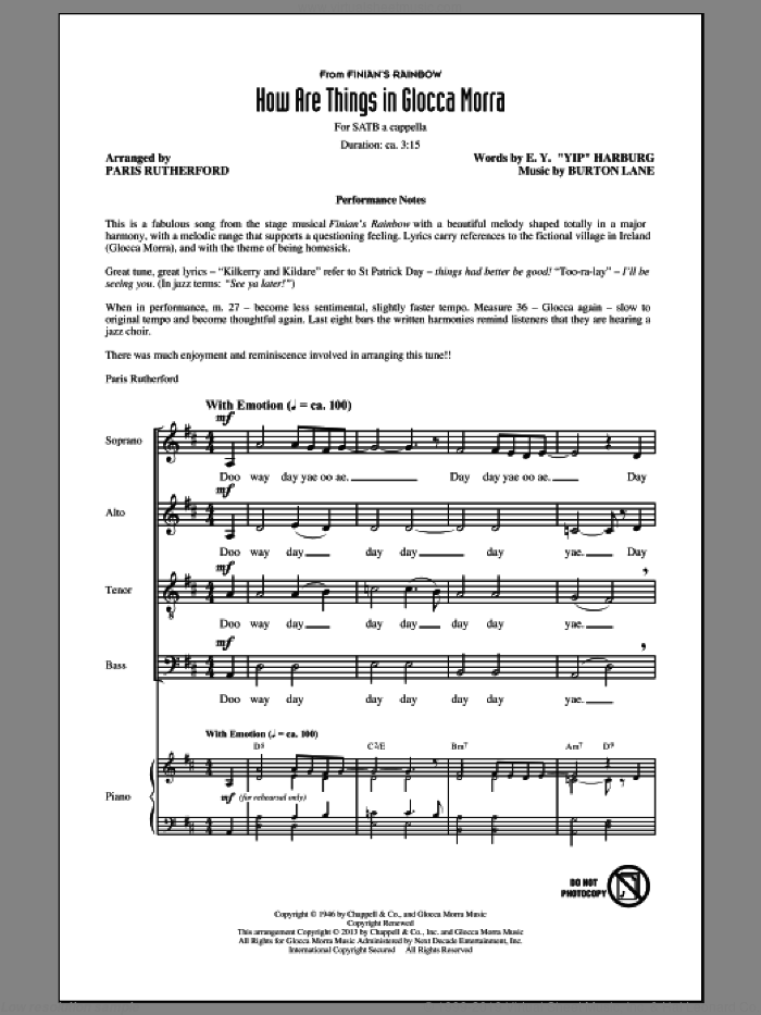 How Are Things In Glocca Morra sheet music for choir (SATB: soprano, alto, tenor, bass) by E.Y. Harburg, Burton Lane and Paris Rutherford, intermediate skill level