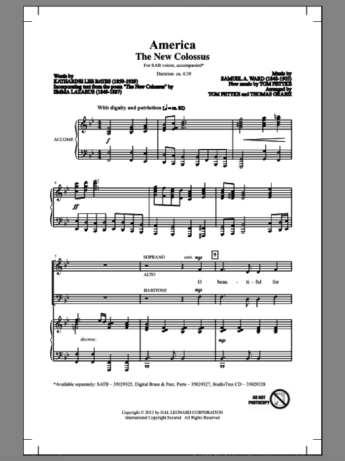 America (The New Colossus) sheet music for choir and piano (SAB) by Thomas Grassi and Tom Fettke. Score Image Preview.