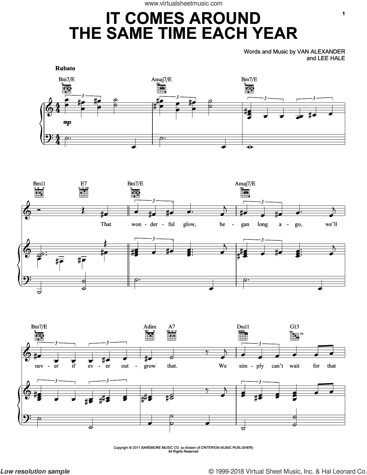It Comes Around The Same Time Each Year sheet music for voice, piano or guitar by Michael Feinstein