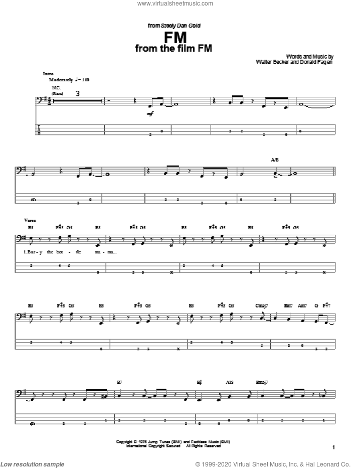 FM sheet music for bass (tablature) (bass guitar) by Steely Dan and Donald Fagen. Score Image Preview.