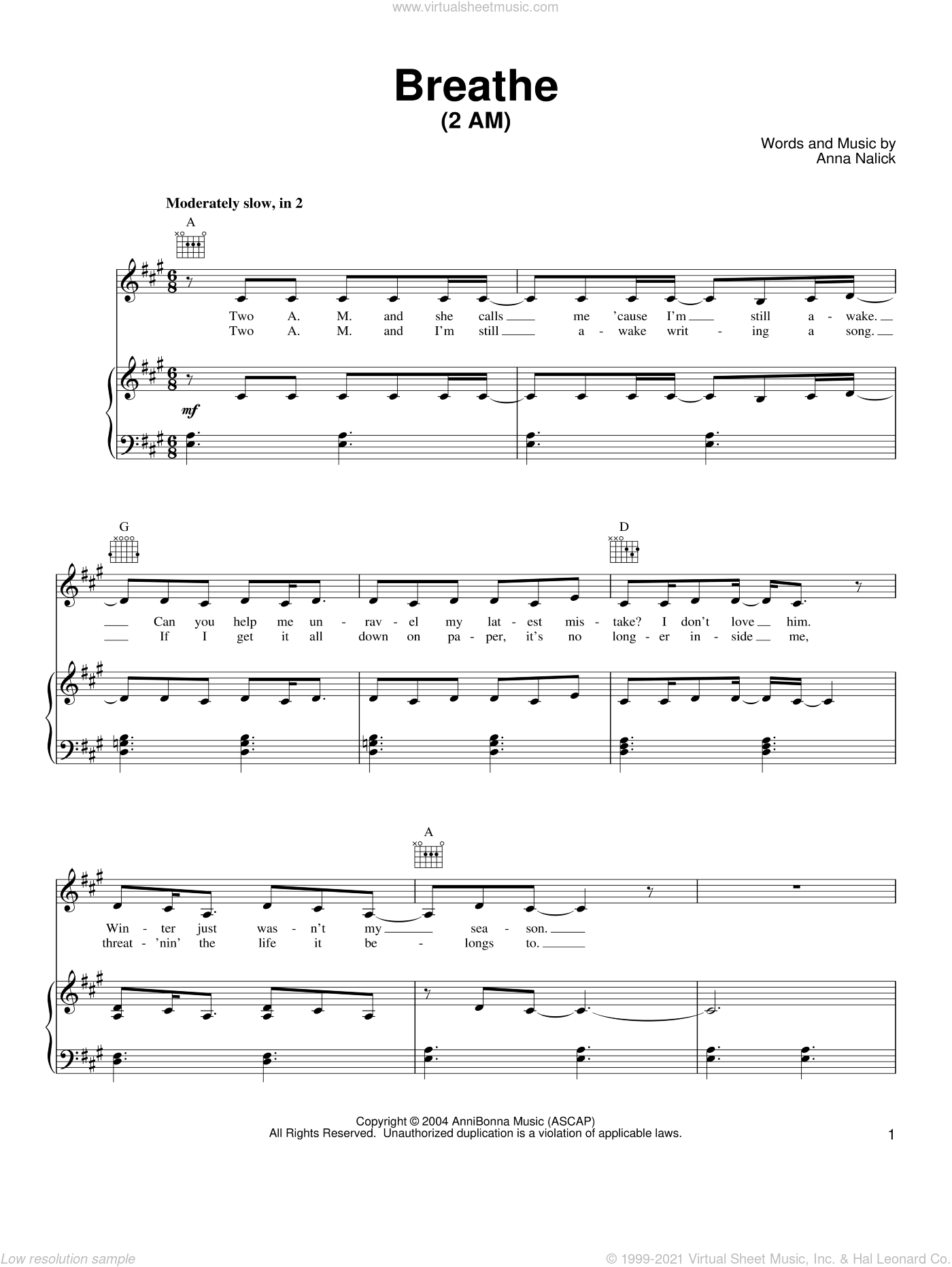 Breathe (2 AM) sheet music for voice, piano or guitar by Anna Nalick, intermediate skill level