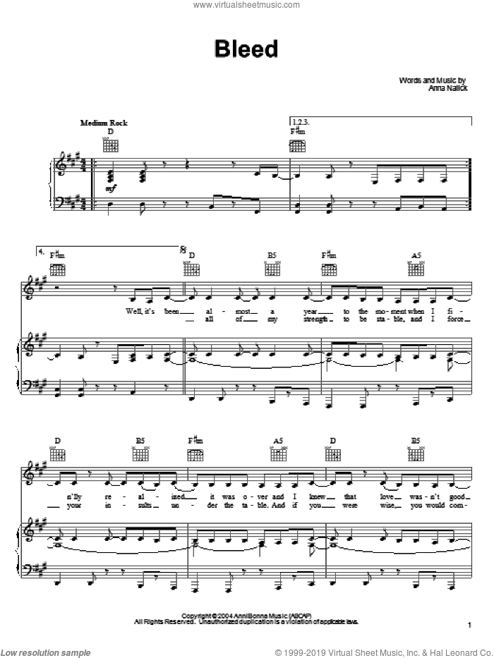 Bleed sheet music for voice, piano or guitar by Anna Nalick. Score Image Preview.