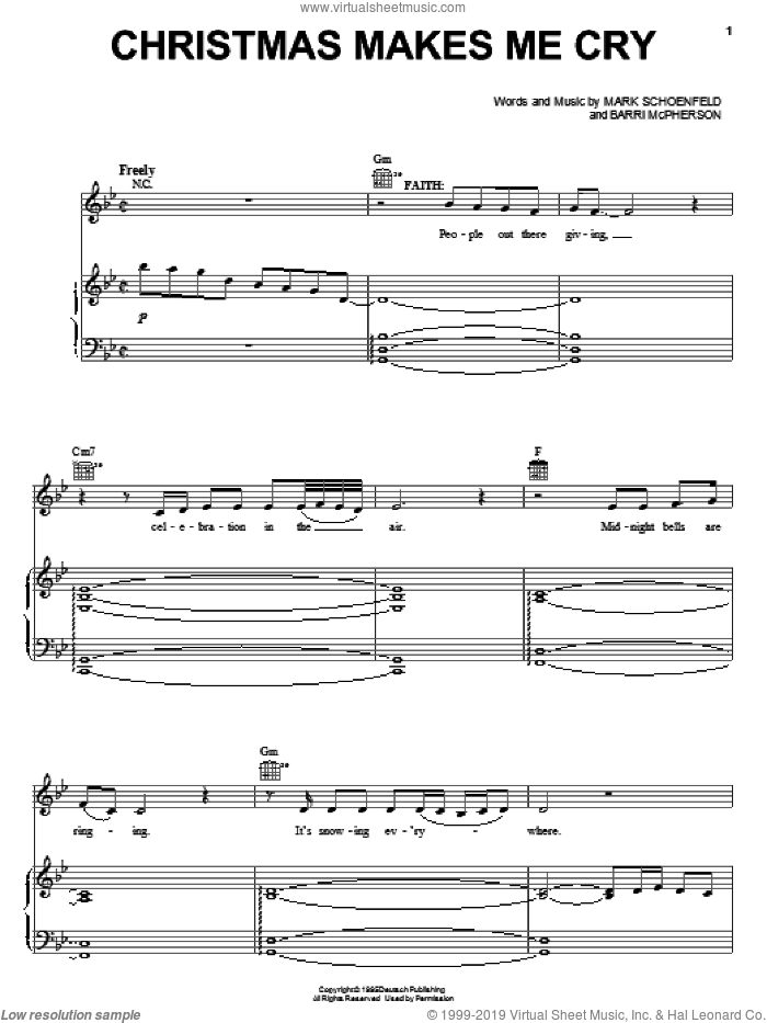 Christmas Makes Me Cry sheet music for voice, piano or guitar by Brooklyn The Musical, Barri McPherson and Mark Schoenfeld, intermediate skill level