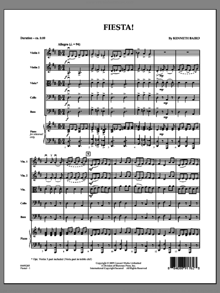 Fiesta (COMPLETE) sheet music for orchestra by Kenneth Baird, intermediate orchestra. Score Image Preview.