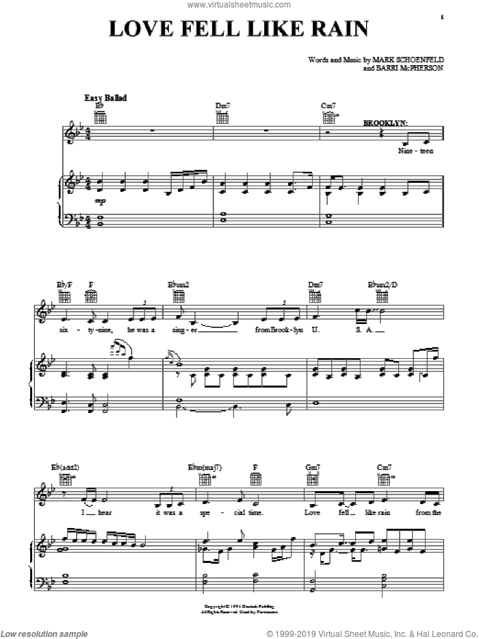 Love Fell Like Rain sheet music for voice, piano or guitar by Brooklyn The Musical, intermediate. Score Image Preview.