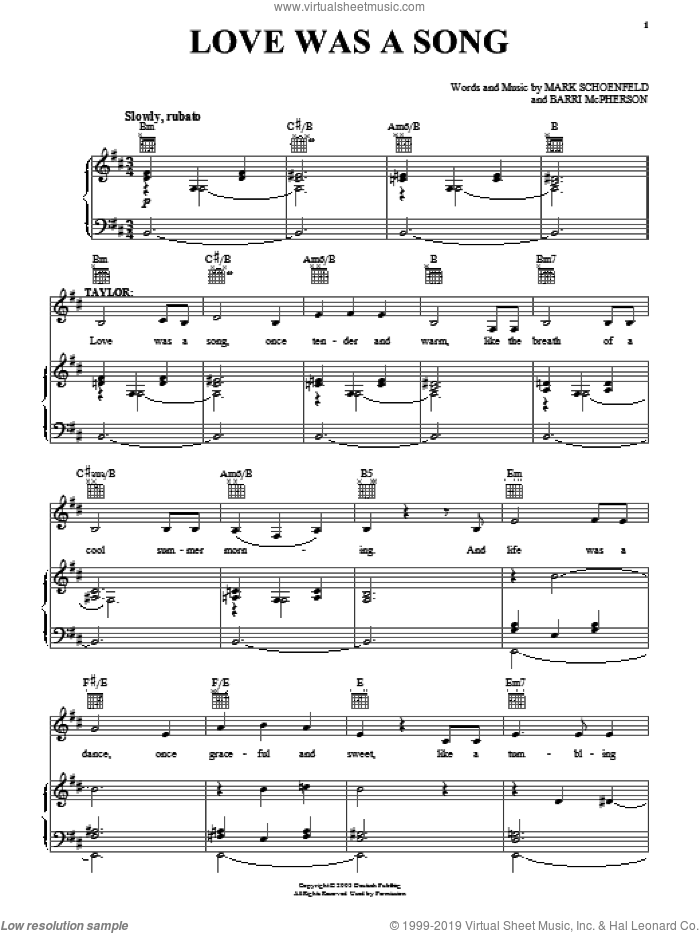 Love Was A Song sheet music for voice, piano or guitar by Mark Schoenfeld. Score Image Preview.