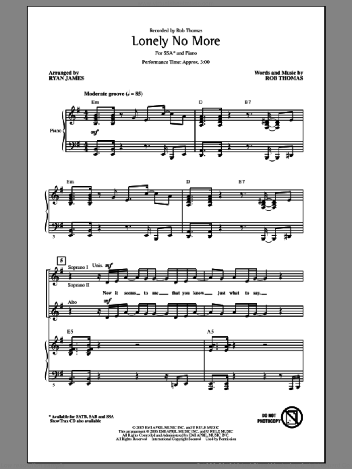 Lonely No More sheet music for choir (SSA: soprano, alto) by Rob Thomas and Ryan James, intermediate skill level