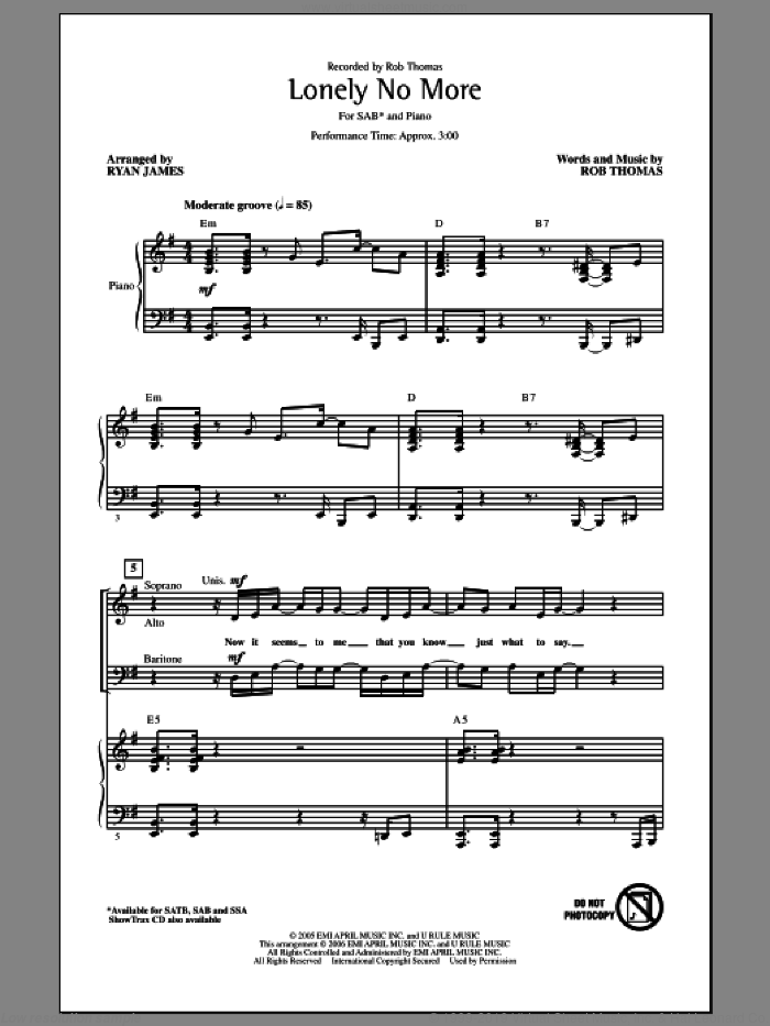 Lonely No More sheet music for choir (SAB) by Ryan James and Rob Thomas. Score Image Preview.