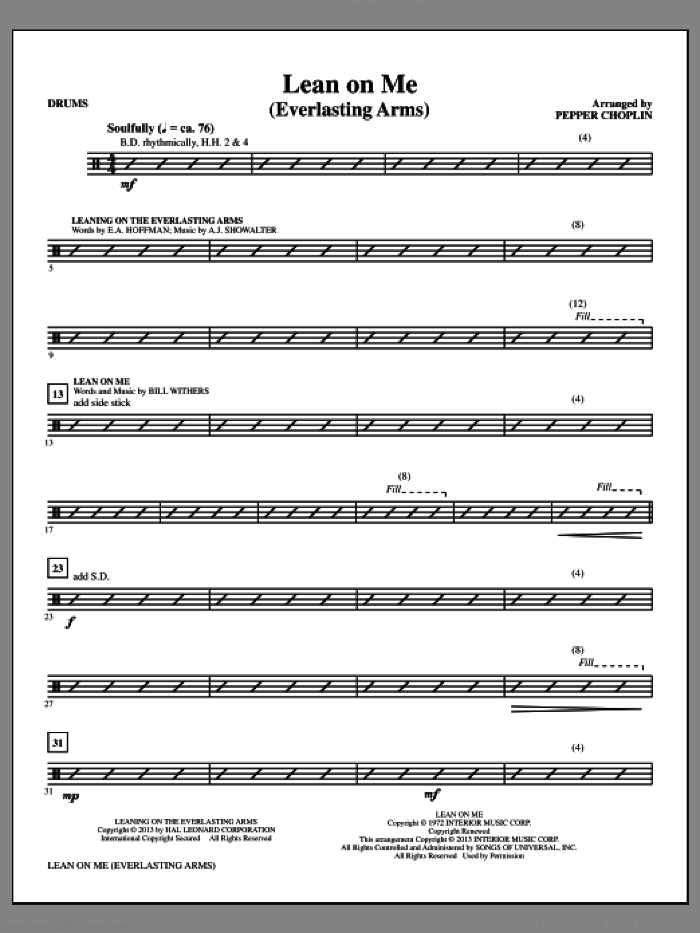 Lean on Me (Everlasting Arms) sheet music for orchestra/band (drums) by Bill Withers and Pepper Choplin, intermediate. Score Image Preview.