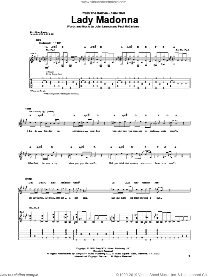 Lady Madonna sheet music for guitar (tablature) by The Beatles, John Lennon and Paul McCartney, intermediate skill level