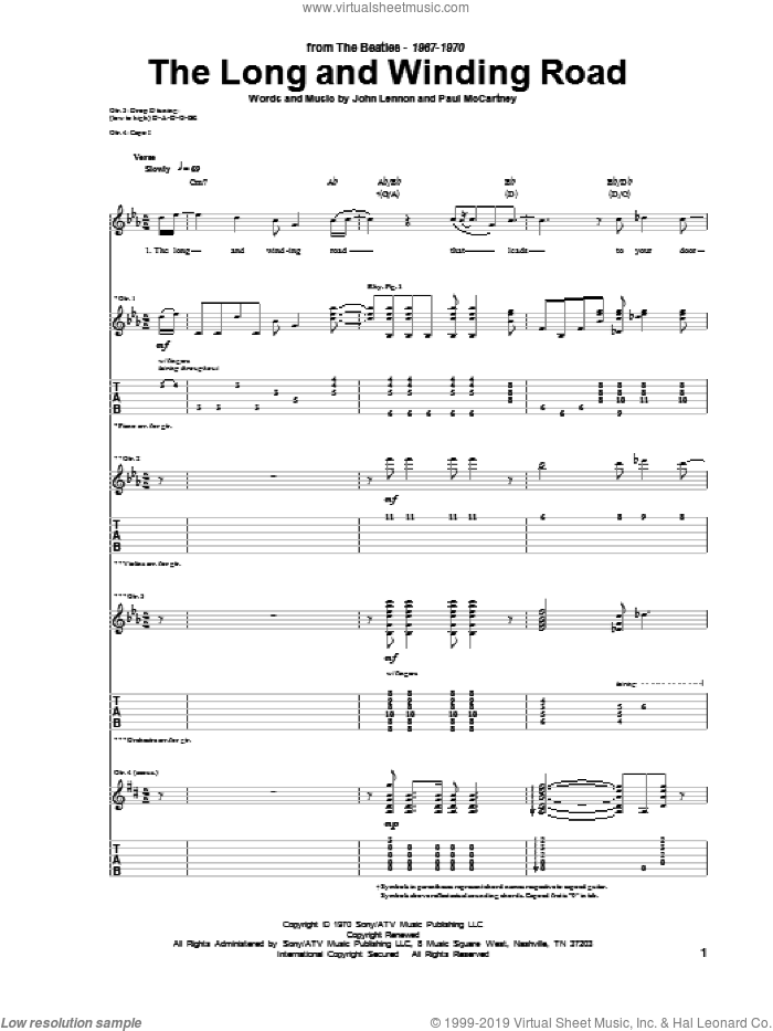 The Long And Winding Road sheet music for guitar (tablature) by The Beatles, John Lennon and Paul McCartney. Score Image Preview.