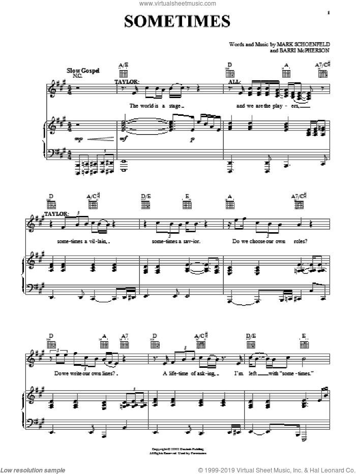 Sometimes sheet music for voice, piano or guitar by Mark Schoenfeld