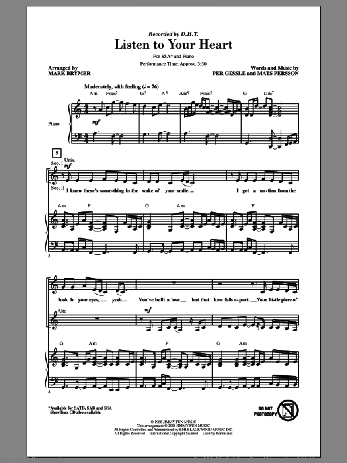 Listen To Your Heart sheet music for choir (soprano voice, alto voice, choir) by Mark Brymer. Score Image Preview.