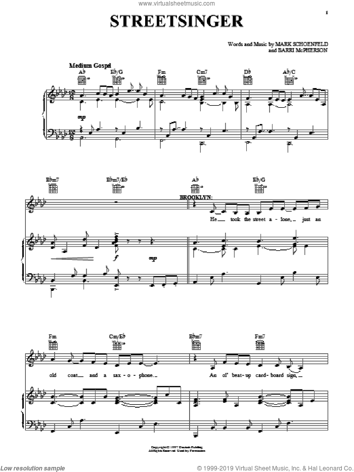 Streetsinger sheet music for voice, piano or guitar by Brooklyn The Musical, Barri McPherson and Mark Schoenfeld, intermediate skill level