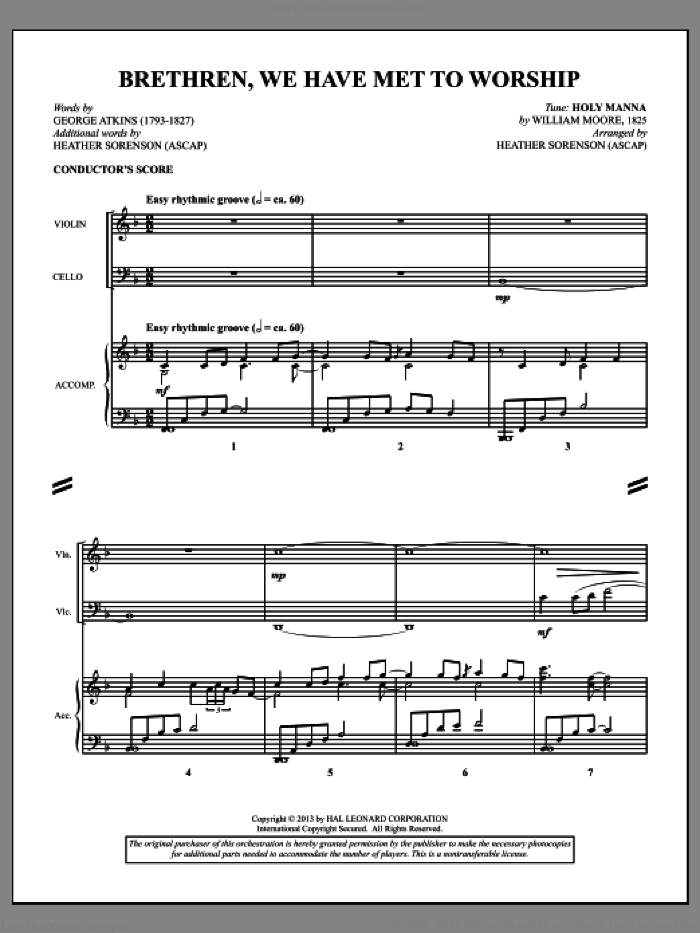 Brethren, We Have Met To Worship (COMPLETE) sheet music for orchestra/band (Cello) by Heather Sorenson, intermediate. Score Image Preview.