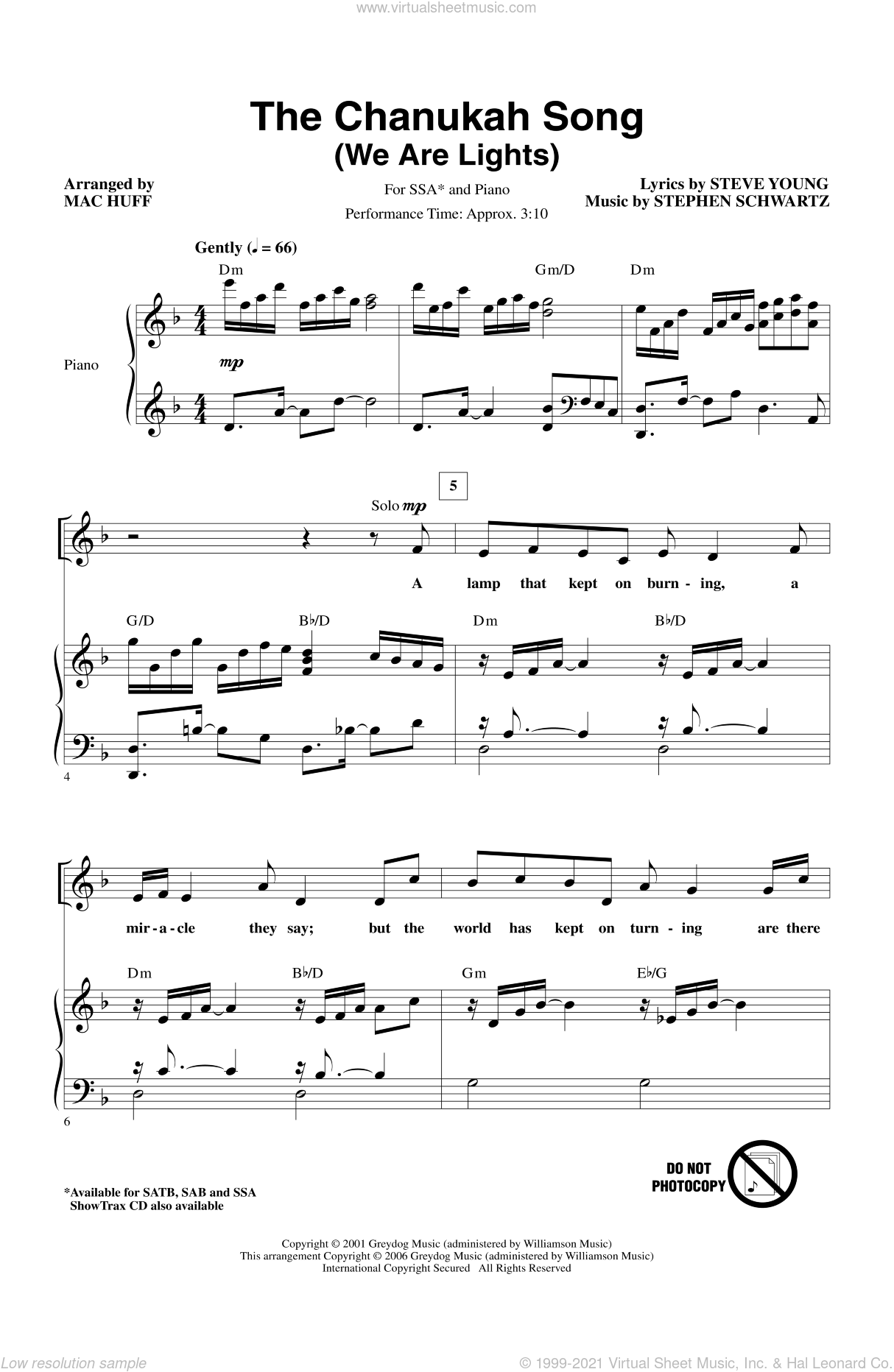 The Chanukah Song (We Are Lights) sheet music for choir (SSA: soprano, alto) by Mac Huff and Stephen Schwartz, intermediate skill level