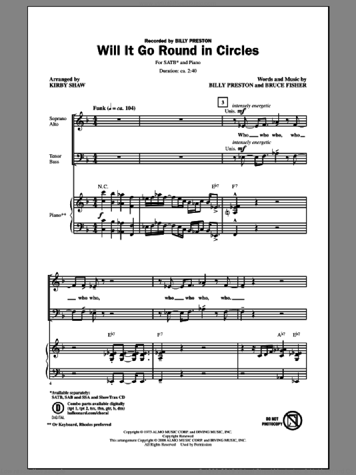 Will It Go Round In Circles sheet music for choir and piano (SATB) by Kirby Shaw, Billy Preston and Bruce Fisher. Score Image Preview.