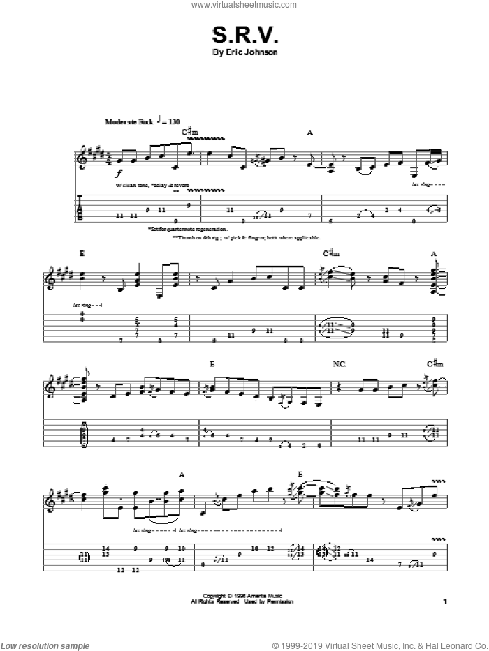 S.R.V. sheet music for guitar (tablature, play-along) by Eric Johnson. Score Image Preview.