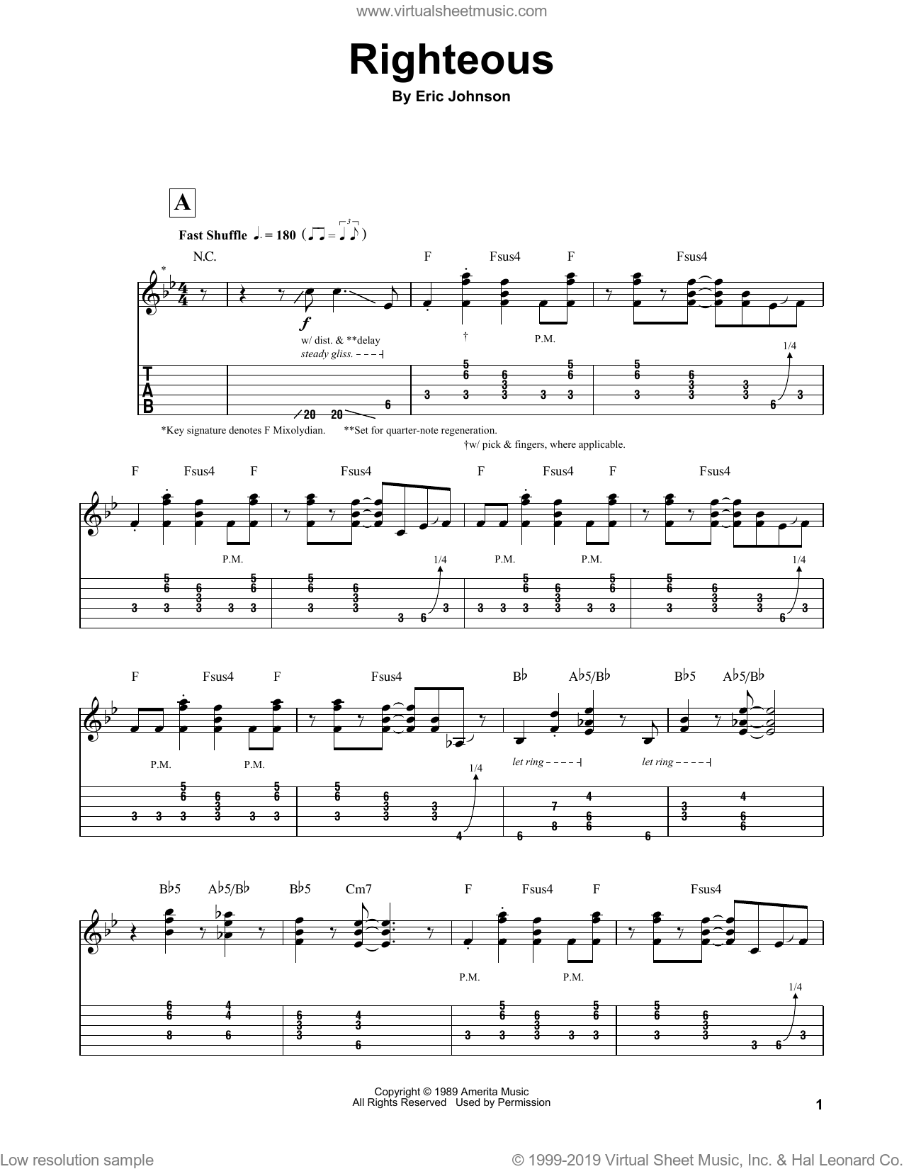 Righteous sheet music for guitar (tablature, play-along) by Eric Johnson. Score Image Preview.
