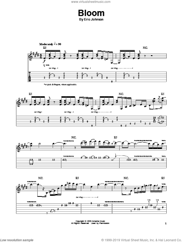 Bloom sheet music for guitar (tablature, play-along) by Eric Johnson. Score Image Preview.