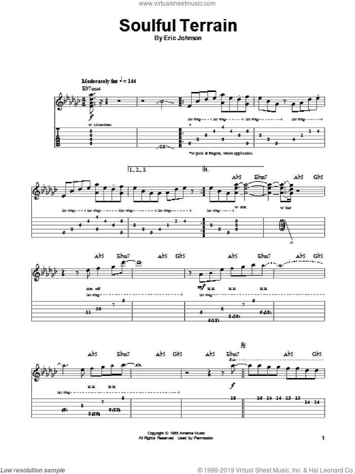 Soulful Terrain sheet music for guitar (tablature, play-along) by Eric Johnson. Score Image Preview.