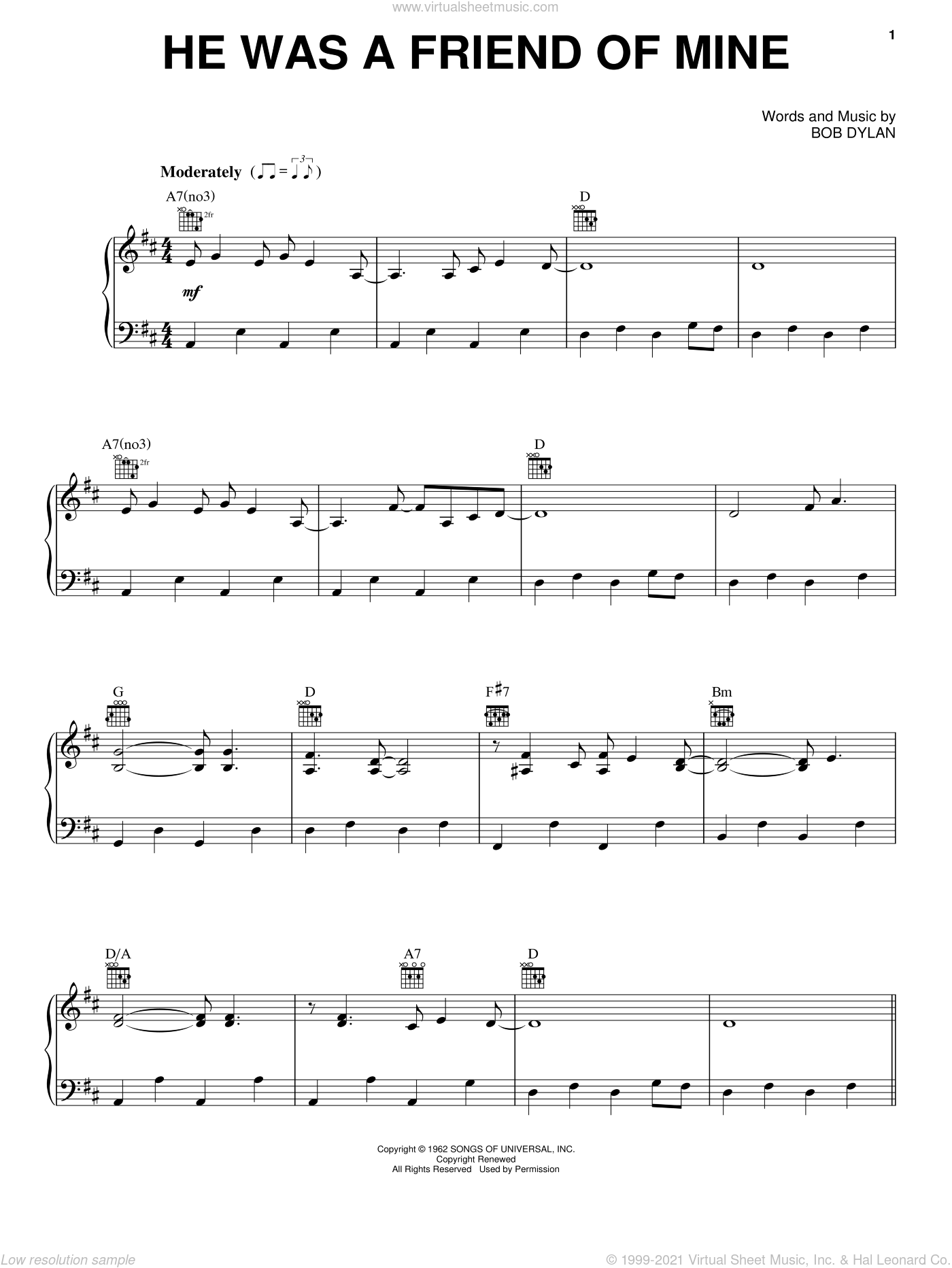 He Was A Friend Of Mine sheet music for voice, piano or guitar by Willie Nelson and Bob Dylan. Score Image Preview.