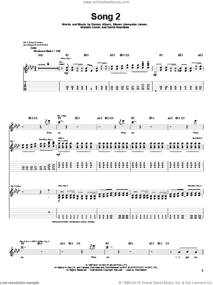 Song 2 sheet music for guitar (tablature) by Graham Coxon, Blur and Damon Albarn. Score Image Preview.