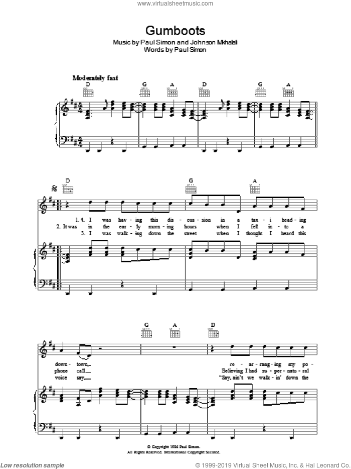 Gumboots sheet music for voice, piano or guitar by Paul Simon, intermediate. Score Image Preview.