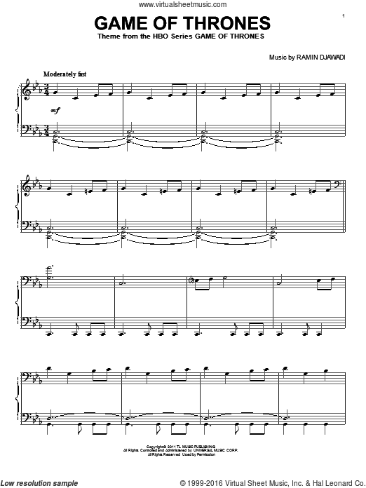 Game Of Thrones sheet music for voice, piano or guitar by Ramin Djawadi. Score Image Preview.