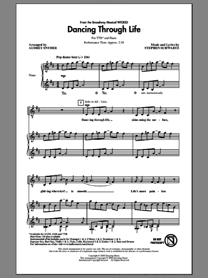 Dancing Through Life sheet music for choir (tenor voice, bass voice, choir) by Stephen Schwartz and Audrey Snyder. Score Image Preview.