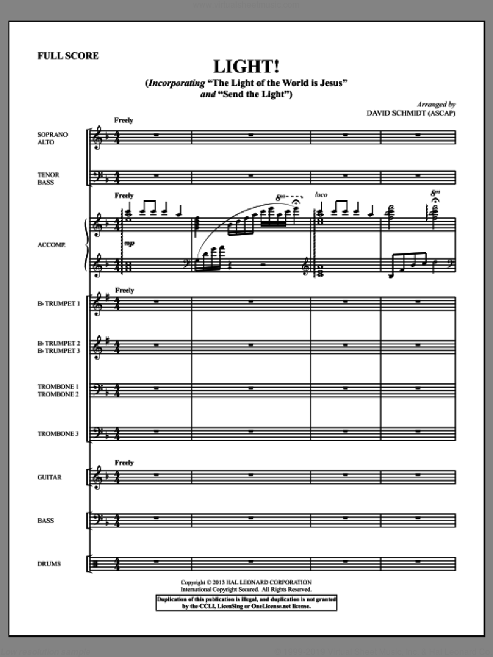 Light! (COMPLETE) sheet music for orchestra/band by David Schmidt, intermediate skill level