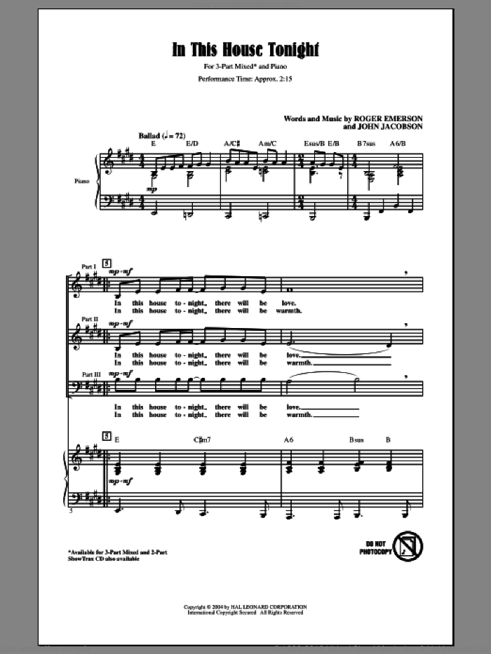 In This House Tonight sheet music for choir and piano (chamber ensemble) by Roger Emerson and John Jacobson. Score Image Preview.