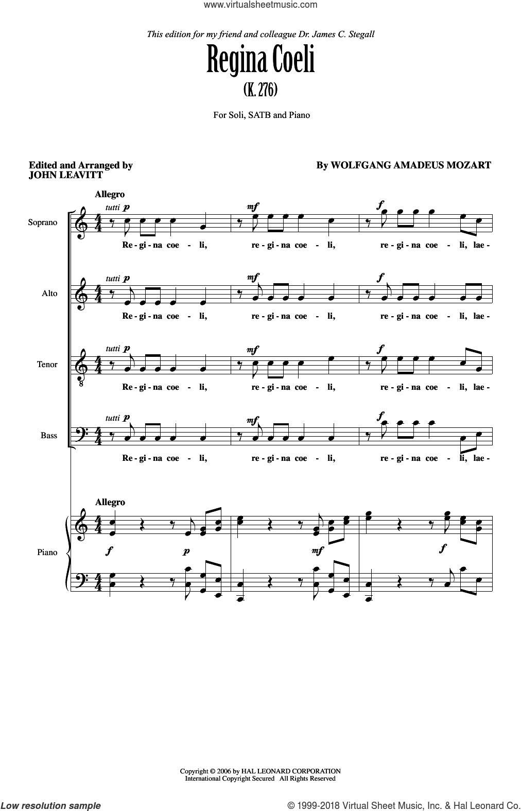 Regina Coeli KV276 sheet music for choir (SATB: soprano, alto, tenor, bass) by Wolfgang Amadeus Mozart and John Leavitt, intermediate skill level