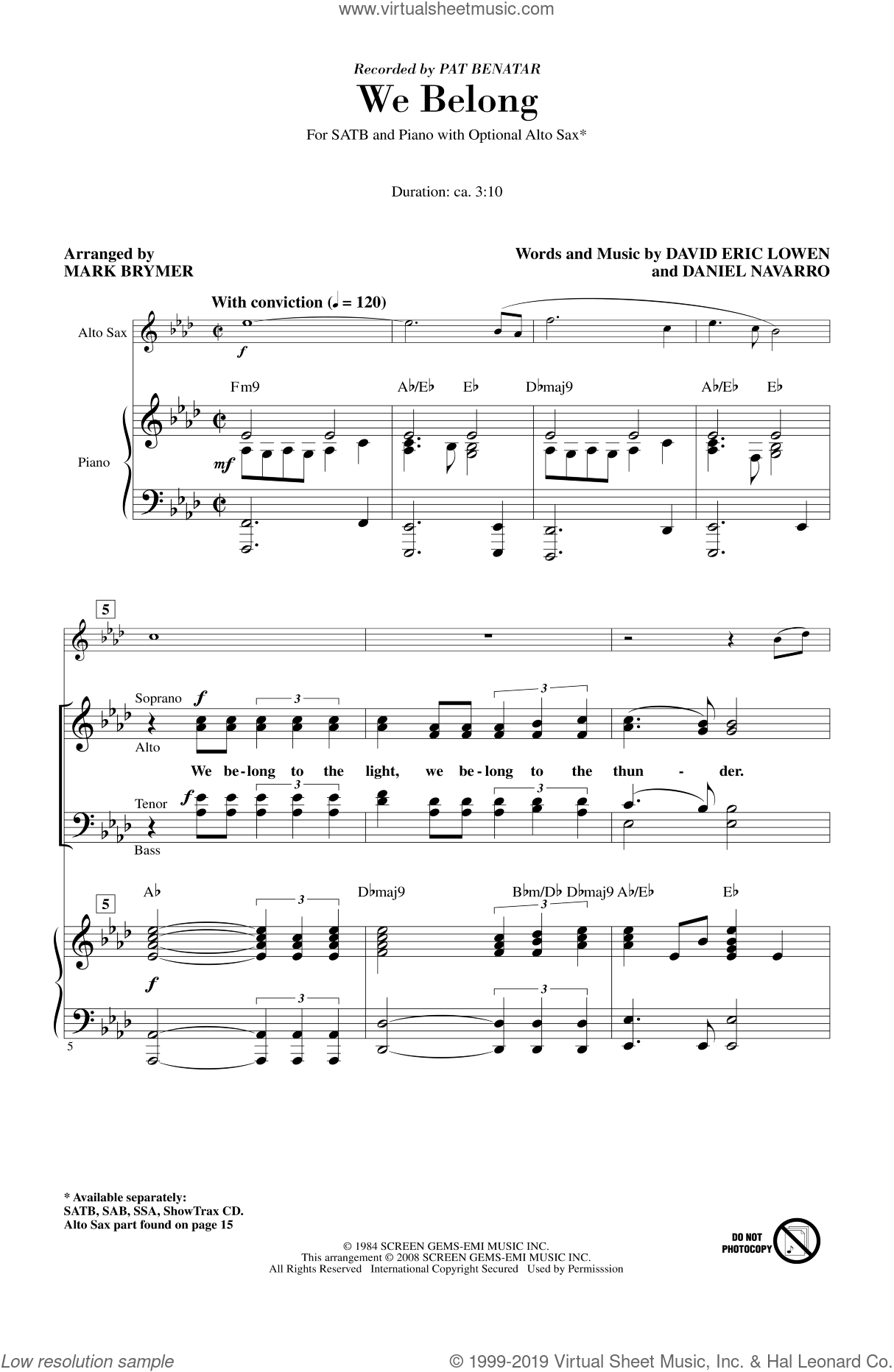 We Belong sheet music for choir (SATB: soprano, alto, tenor, bass) by Mark Brymer and Pat Benatar, intermediate skill level