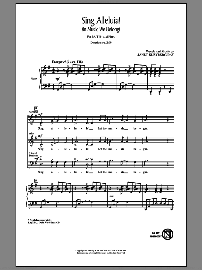 Sing Alleluia! (In Music We Belong) sheet music for choir (SATB) by Janet Day. Score Image Preview.