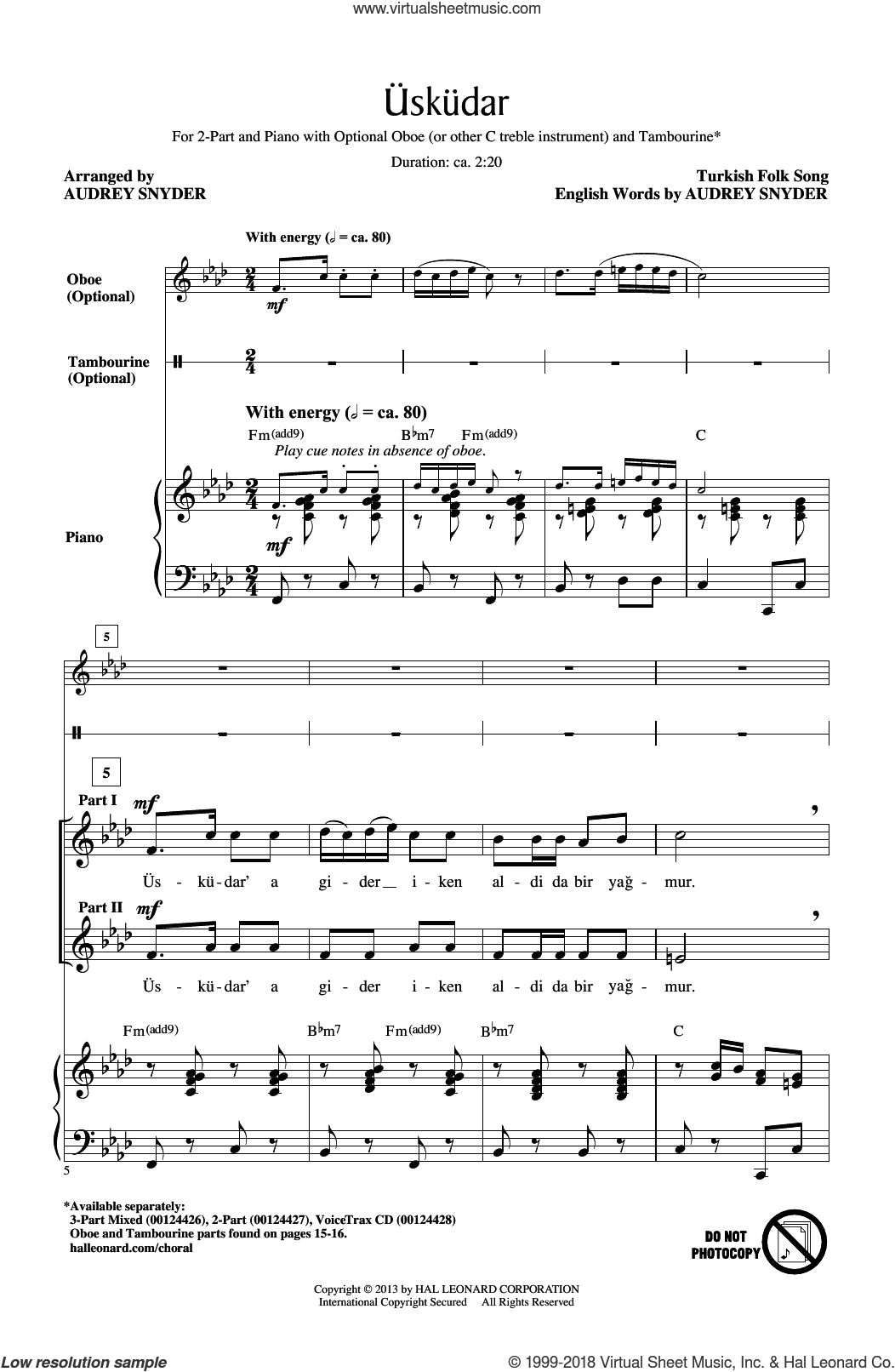 Uskudar sheet music for choir (2-Part) by Audrey Snyder and Turkish Folk Song, intermediate duet. Score Image Preview.