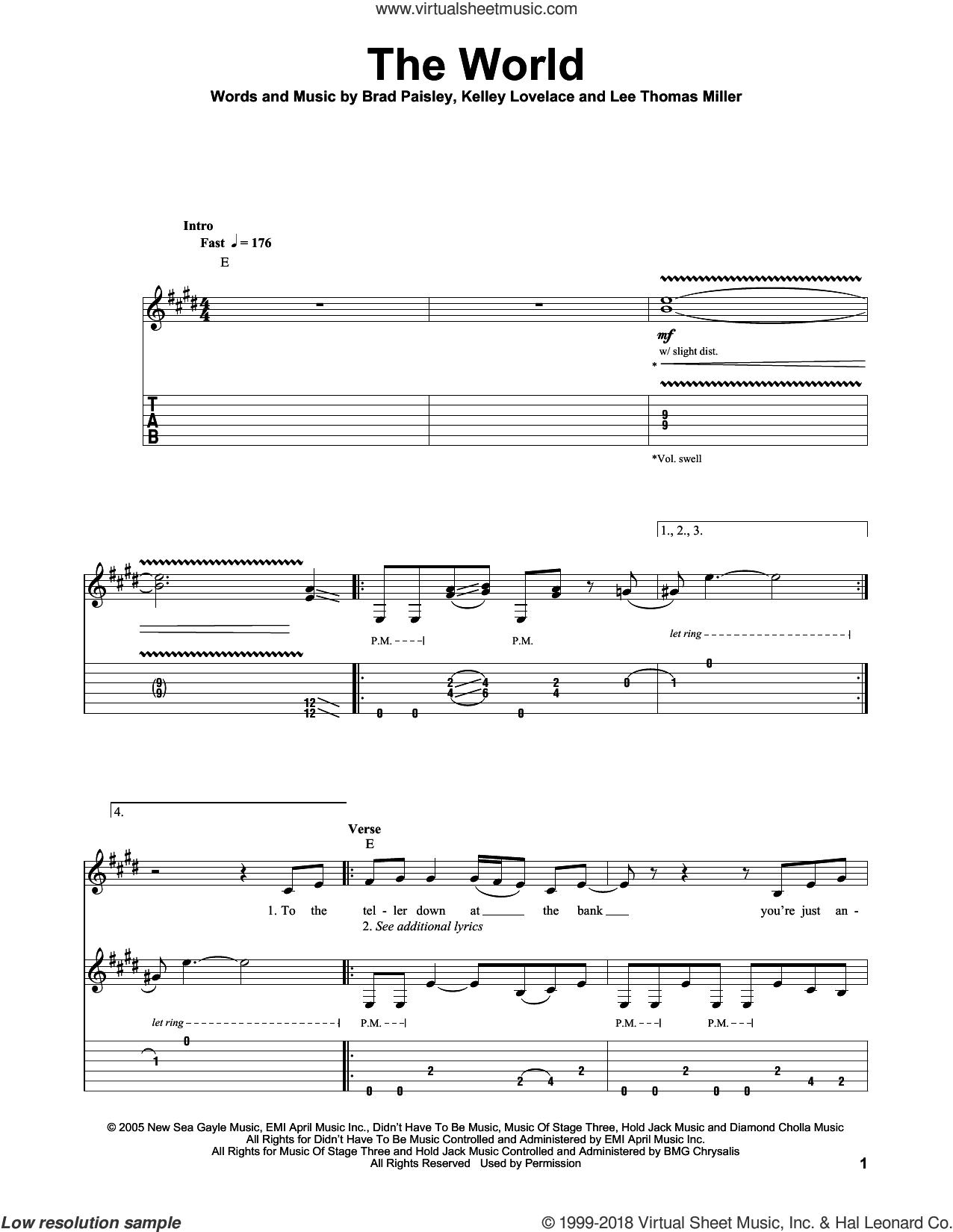 The World sheet music for guitar (tablature, play-along) by Brad Paisley, intermediate. Score Image Preview.