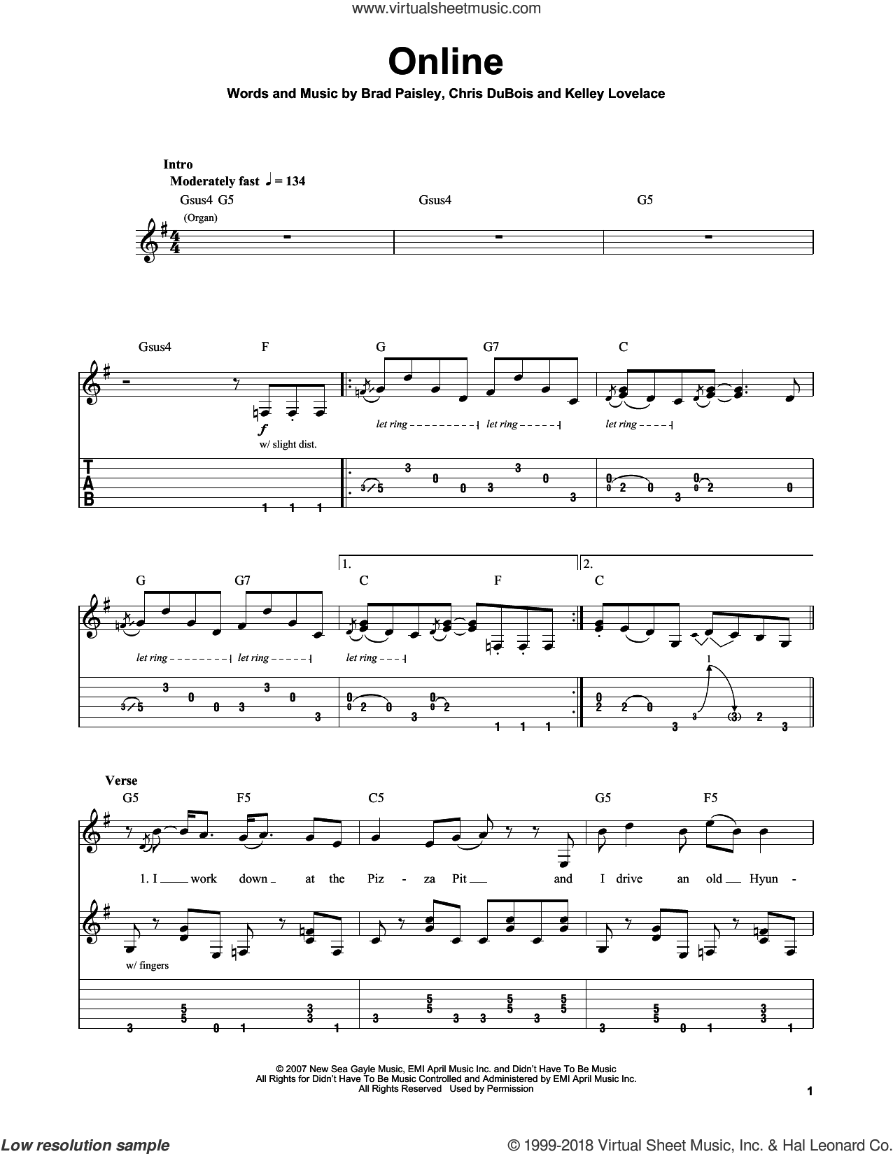Online sheet music for guitar (tablature, play-along) by Brad Paisley, intermediate guitar (tablature, play-along). Score Image Preview.