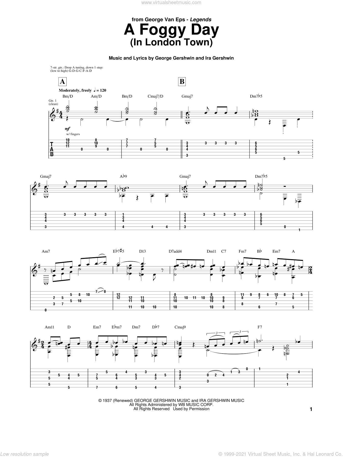 A Foggy Day (In London Town) sheet music for guitar (tablature) by Van Eps, George, George Gershwin and Ira Gershwin, intermediate skill level