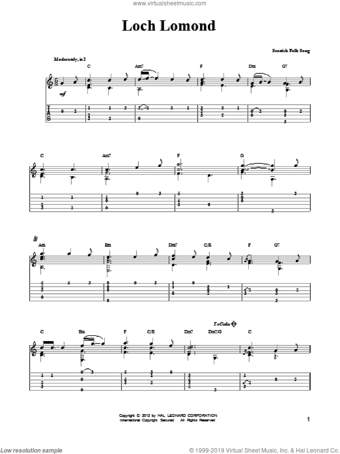 Loch Lomond sheet music for guitar solo (easy tablature) by Mark Phillips and Miscellaneous, easy guitar (easy tablature)