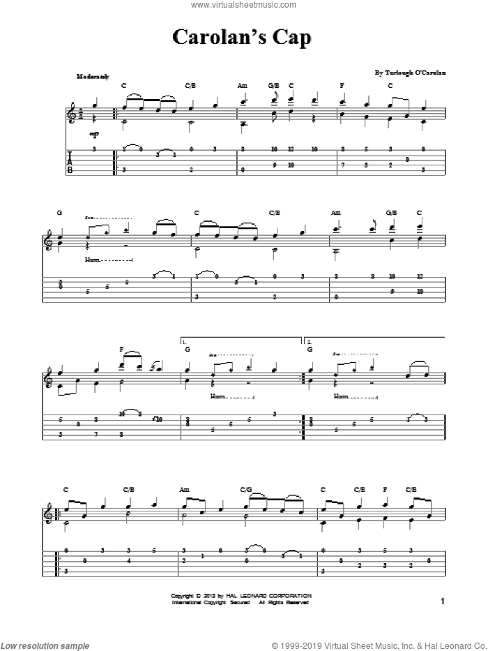 Carolan's Cap sheet music for guitar solo (easy tablature) by Mark Phillips. Score Image Preview.