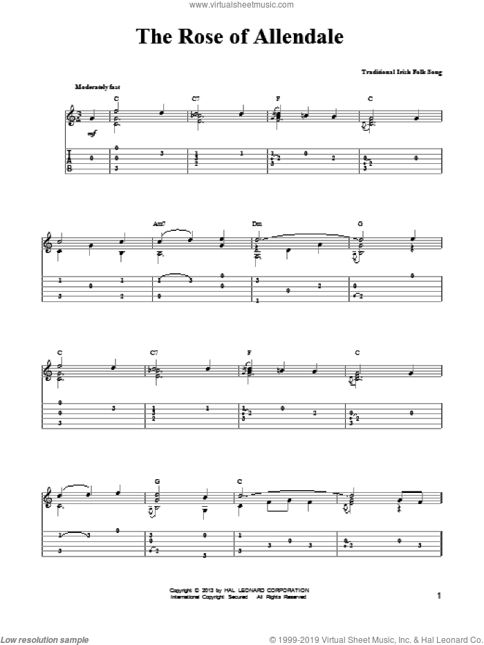 The Rose Of Allendale sheet music for guitar solo (easy tablature) by Mark Phillips, easy guitar (easy tablature). Score Image Preview.