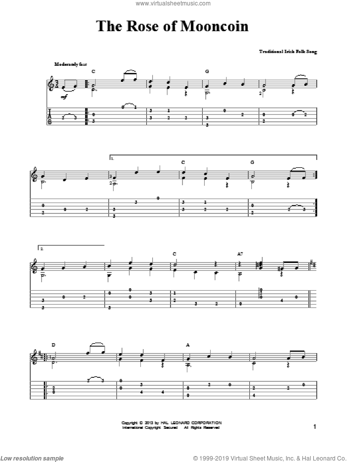 The Rose Of Mooncoin sheet music for guitar solo (easy tablature) by Mark Phillips. Score Image Preview.