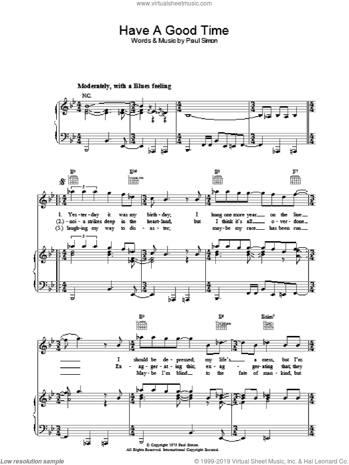 Have A Good Time sheet music for voice, piano or guitar by Paul Simon, intermediate skill level