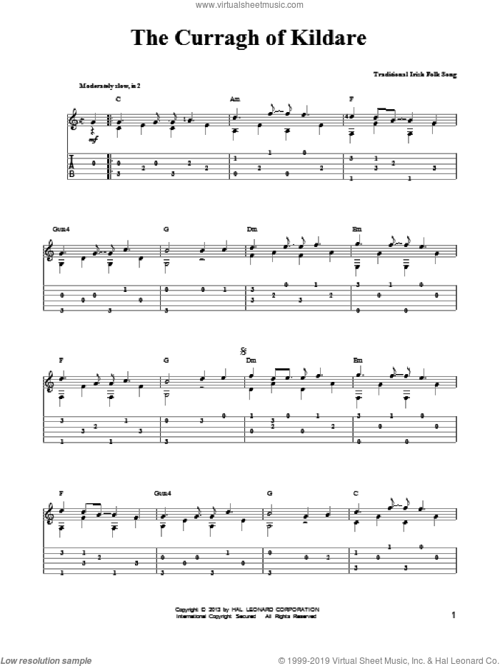 The Curragh Of Kildare sheet music for guitar solo (easy tablature) by Mark Phillips, easy guitar (easy tablature)