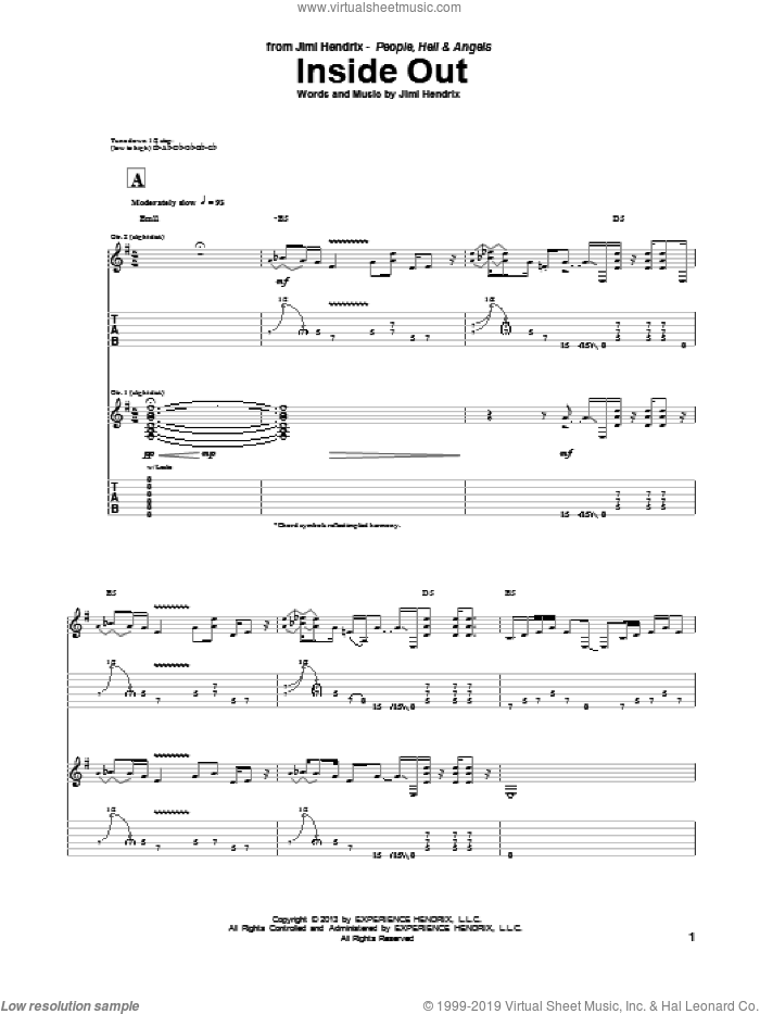 Inside Out sheet music for guitar (tablature) by Jimi Hendrix. Score Image Preview.