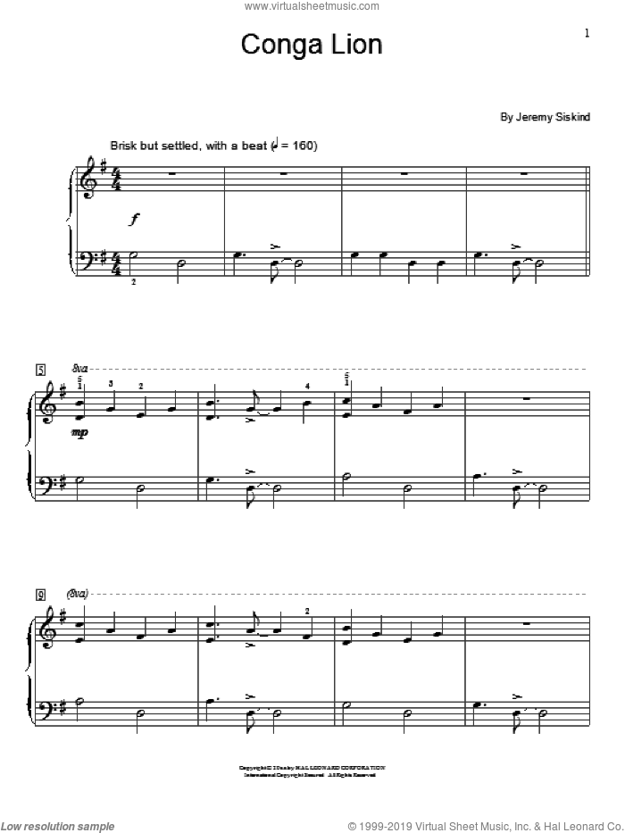 Conga Lion sheet music for piano solo (elementary) by Jeremy Siskind. Score Image Preview.