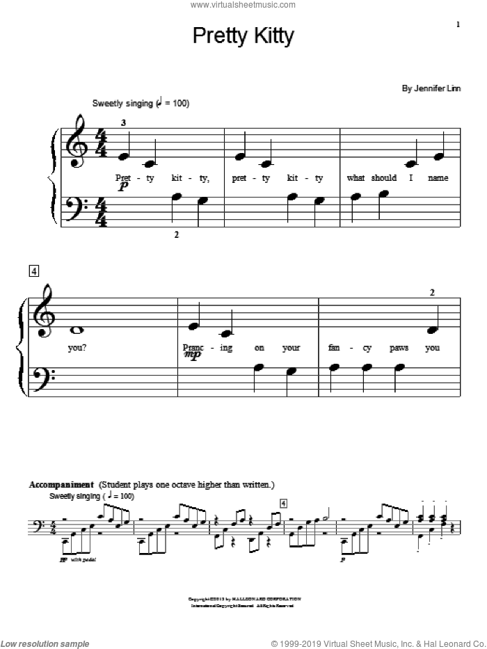 Pretty Kitty sheet music for piano solo (elementary) by Jennifer Linn. Score Image Preview.