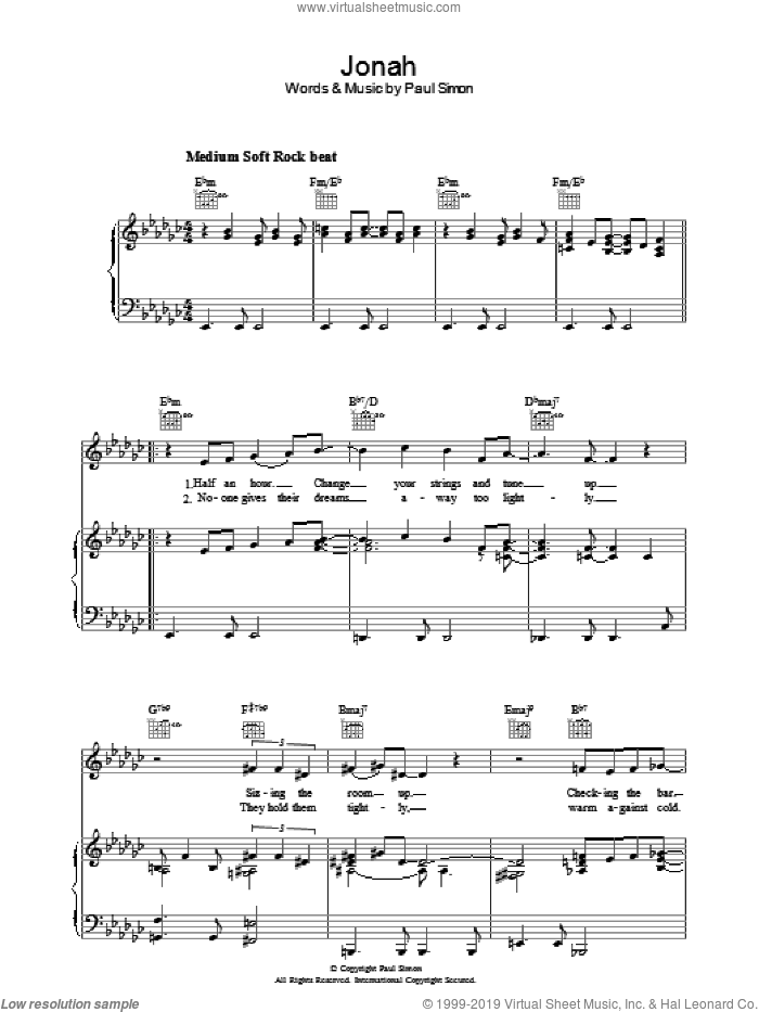 Jonah sheet music for voice, piano or guitar by Paul Simon. Score Image Preview.